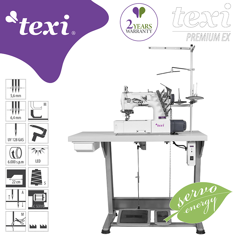 TEXI TRECCIA PREMIUM EX - 3-needle flat bed coverstitch (interlock) machine with built-in AC Servo motor and needles positioning - complete sewing machine with 2 years warranty