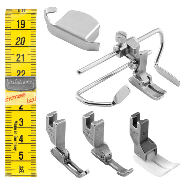 Set of the most necessary sewing feet and accessories for lockstitch machines with needle feed