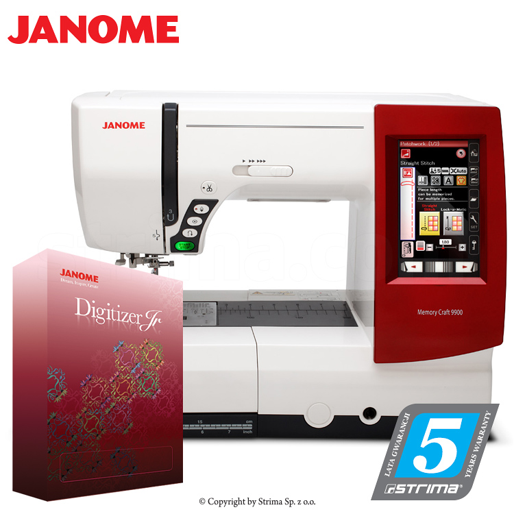 Computerized sewing, quilting and embroidery machine - set with embroidery design software JANOME DIGITIZER JR
