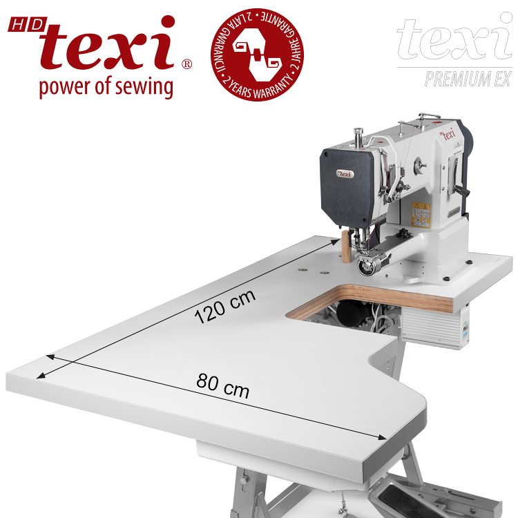 TEXI HD FORTE CILINDRO UF PREMIUM EX XL - Upholstery and leather lockstitch cylinder-bed machine, unison feed, large hook, AC Servo motor, needle positioning - with extended table top, 2 years warranty