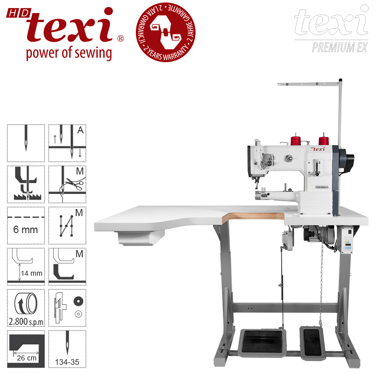 TEXI HD FORTE CILINDRO-B UF PREMIUM EXXL - Upholstery and leather lockstitch cylinder-bed binding machine, unison feed, large hook, Servo motor, needle positioning - extended table top, 2 years warranty