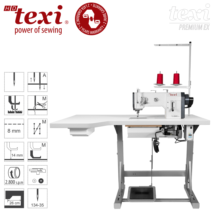 TEXI HD FORTE UF PREMIUM EX XL - Upholstery and leather lockstitch machine with unison feed, large hook, AC Servo motor and needle positioning - set with extended table top and 2 years warranty