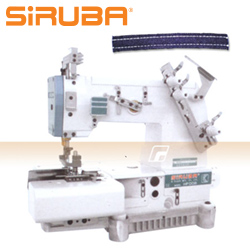 SIRUBA 2-needles flat chainstitch machine for belt-loop seaming, with energy-saving AC Servo TP550 motor  - complete sewing machine