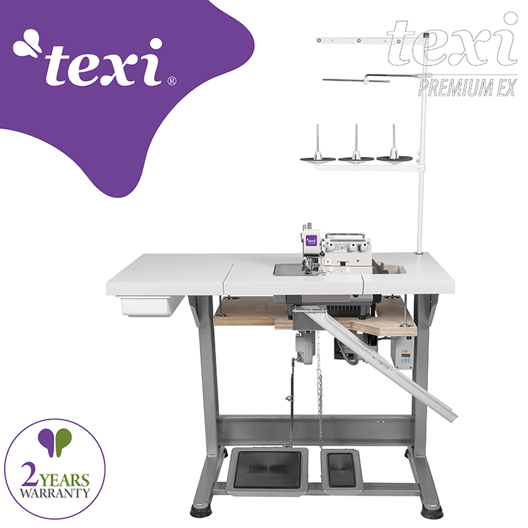 TEXI TRE ORLO 15 PREMIUM EX - 3-threads overlock machine for very narrow and dense overedging (hemstitch) with AC Servo motor - complete sewing machine with 2 years warranty