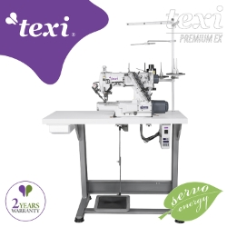 3-needle cylinder bed coverstitch (interlock) machine with electromagnetic automatic thread trimmer and built-in AC Servo motor - complete with 2 years warranty - TEXI TRECCIA C MATIC PREMIUM EX