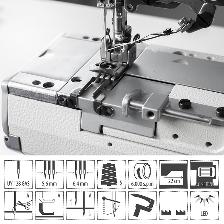 3-needle cylinder bed coverstitch (interlock) machine with electromagnetic automatic thread trimmer and built-in AC Servo motor - complete with 2 years warranty