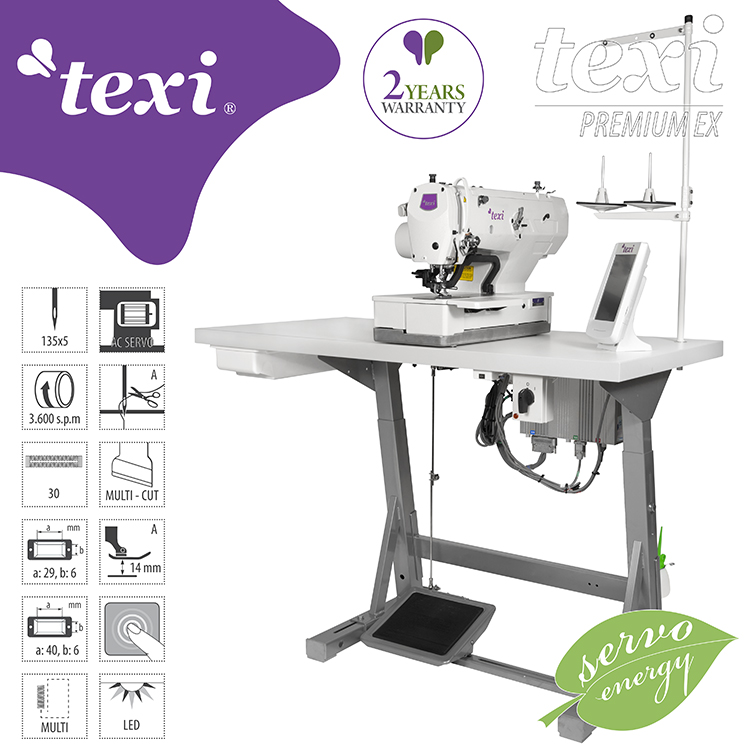 TEXI O PREMIUM EX - Electronic buttonhole machine - complete machine with 2 years warranty