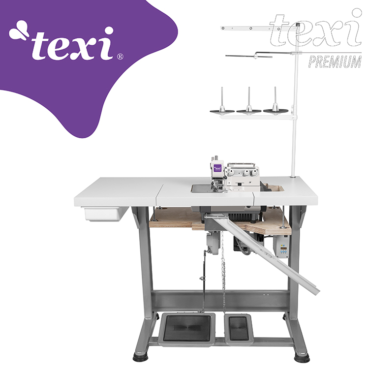 TEXI TRE ORLO 15 PREMIUM - 3-threads overlock machine for very narrow and dense overedging (hemstitch) with AC Servo motor - complete sewing machine