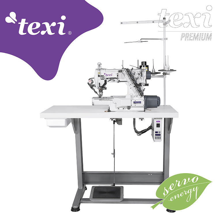 TEXI TRECCIA C MATIC PREMIUM - 3-needle cylinder bed coverstitch (interlock) machine with electromagnetic automatic thread trimmer and built-in AC Servo motor - complete sewing machine