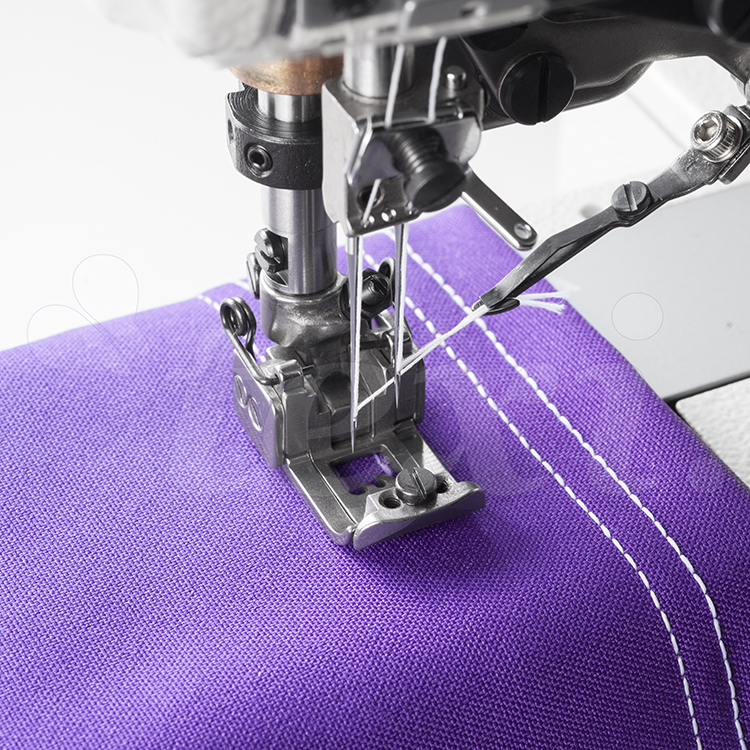 3-needle cylinder bed coverstitch (interlock) machine with electromagnetic automatic thread trimmer and built-in AC Servo motor - complete sewing machine - TEXI TRECCIA C MATIC PREMIUM