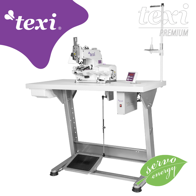 TEXI X PREMIUM - Button sewing machine with electronic selection of stitches number and built-in AC Servo motor - complete sewing machine