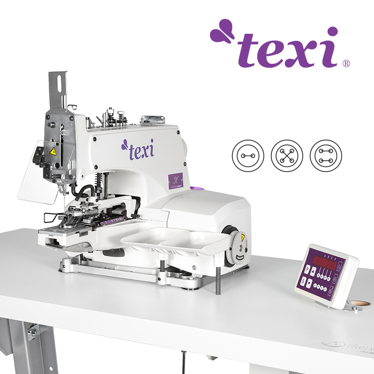Button sewing machine with electronic selection of stitches number and built-in AC Servo motor - complete sewing machine