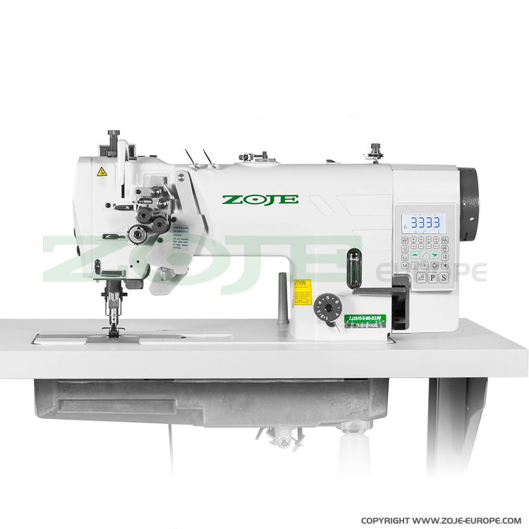 2- needle automatic lockstitch machine for light and medium materials, with built-in AC Servo motor, split needles - machine head