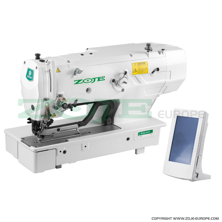 Electronic buttonhole machine with clamp for buttonholes up to 120 mm length - machine head