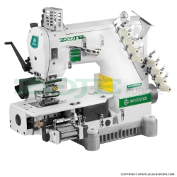 4-needle semi-cylinder double chainstitch machine with puller, for attaching elastic - machine head