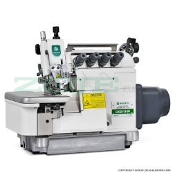 4-thread overlock (safety stitch) machine with top feed, for heavy materials, with built-in AC Servo motor, needles positioning - machine head