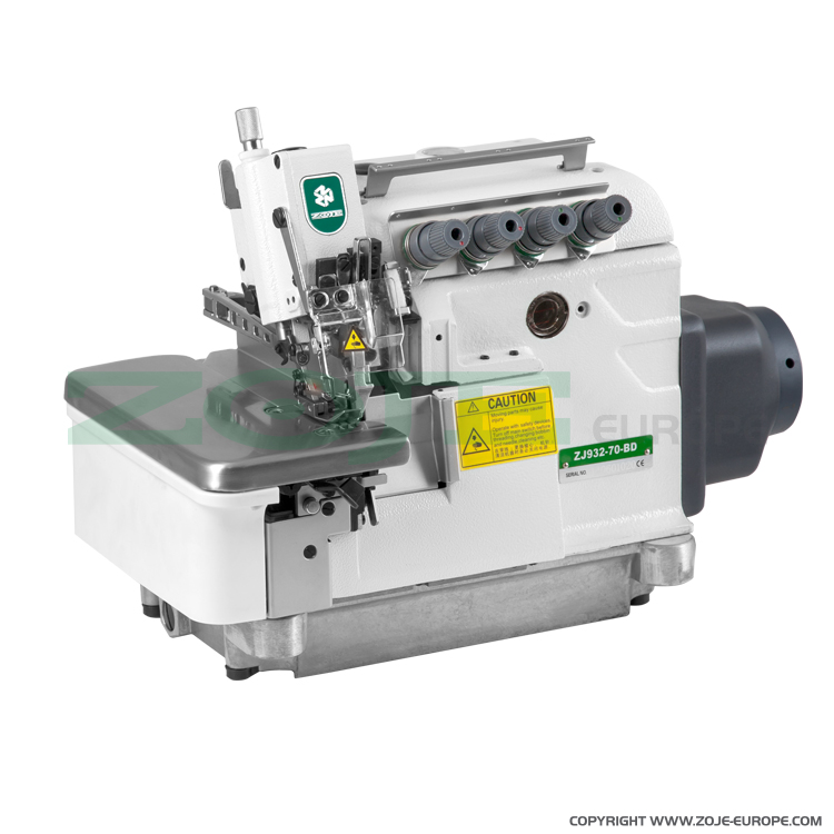 ZOJE ZJ932-70-BD - 5-thread overlock (safety stitch) machine, light and medium materials, direct drive needle bar, built-in AC Servo motor, needles positioning - machine head