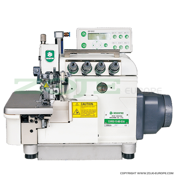 4-thread automatic overlock (safety stitch) machine, light and medium materials, direct drive needle bar, built-in Servo motor, control box - machine head
