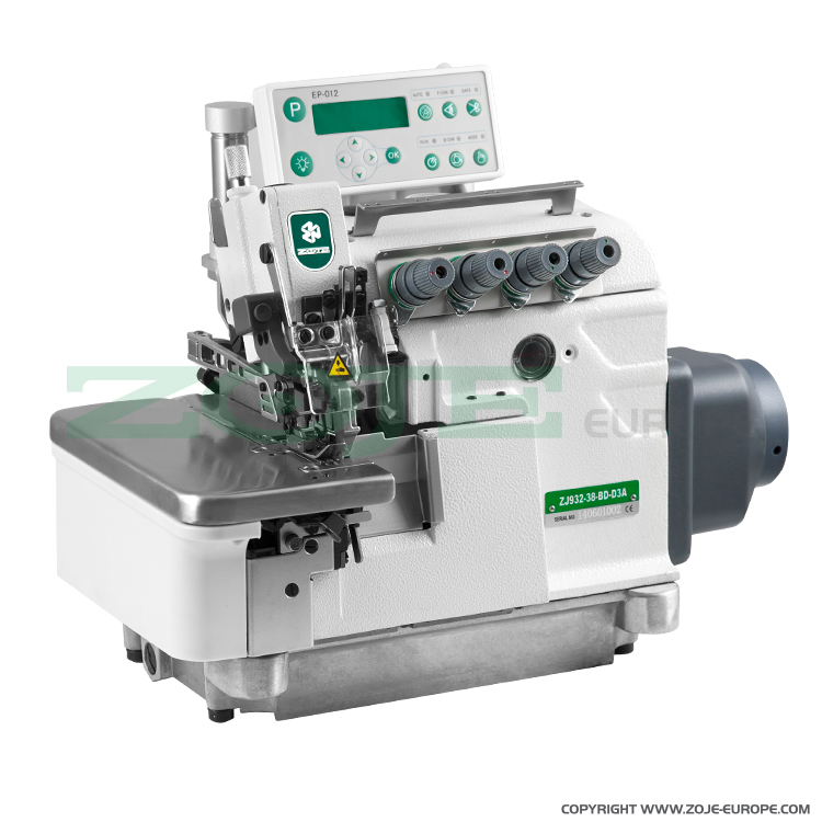 ZOJE ZJ932-38-BD-D3A - 5-thread automatic overlock (safety stitch) machine, light and medium materials, direct drive needle bar, built-in Servo motor, control box - machine head