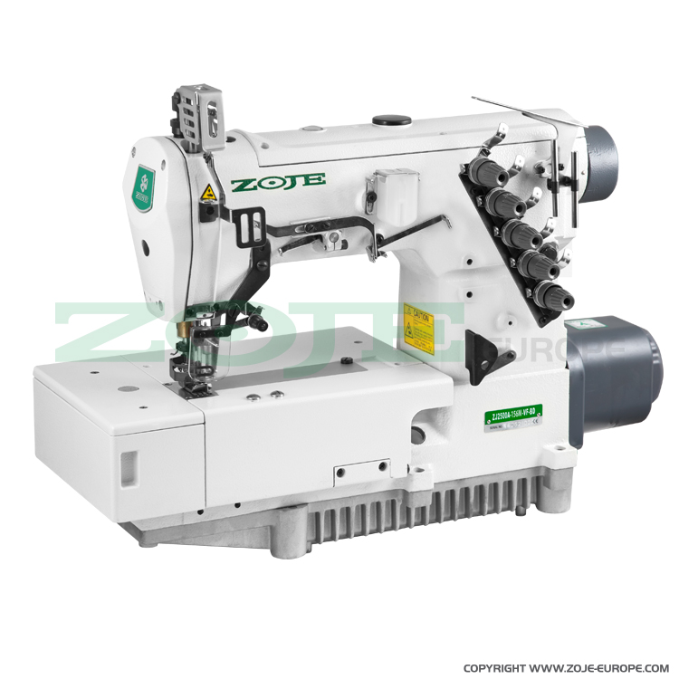 3-needle flat bed coverstitch (interlock) machine with built-in AC Servo motor and needles positioning - machine head - ZOJE ZJ2500A-156M-BD