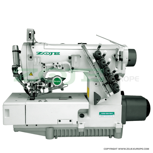 3-needle flat bed coverstitch (interlock) machine with electromagnetic automatic thread trimmer and built-in AC Servo motor - machine head