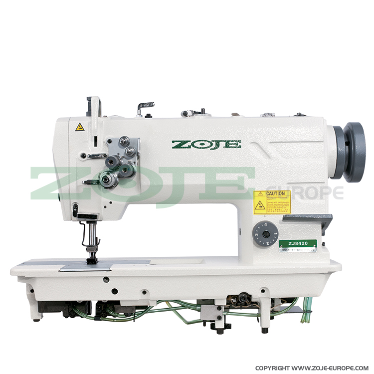 ZOJE ZJ8420A SET - 2- needle lockstitch machine for light and medium materials, with energy-saving AC Servo motor - complete sewing machine