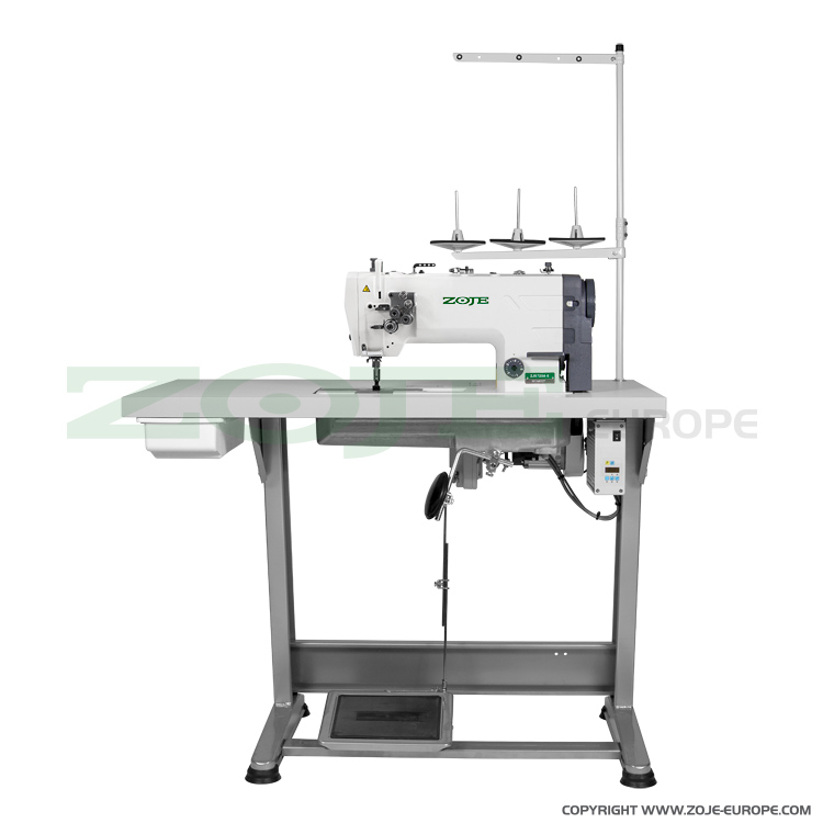 ZOJE ZJ8720A-5 SET - 2- needle lockstitch machine for medium and heavy materials, large hooks, with energy-saving AC Servo motor - complete sewing machine