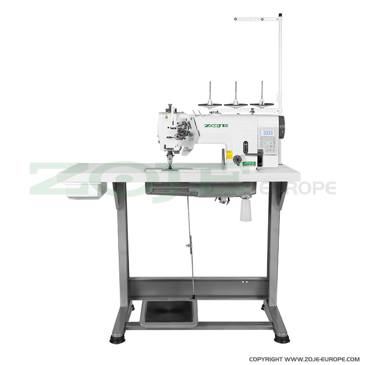 2- needle automatic lockstitch machine for light and medium materials, with built-in AC Servo motor, split needles - complete sewing machine