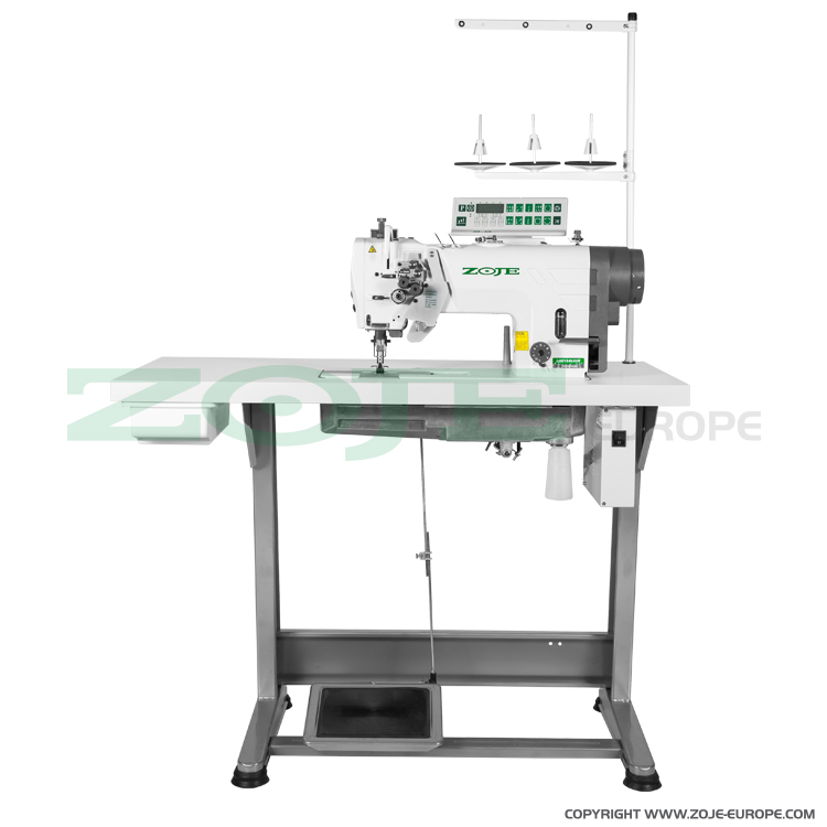 ZOJE ZJ2875-5-BD-D3/PF SET - 2- needle automatic lockstitch machine for medium and heavy materials, with built-in AC Servo motor, split needles, large hooks - complete sewing machine
