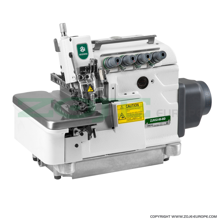 ZOJE ZJ932-86-BD SET - 5-thread overlock (safety stitch) machine for heavy materials, with built-in AC Servo motor and needles positioning - complete sewing machine