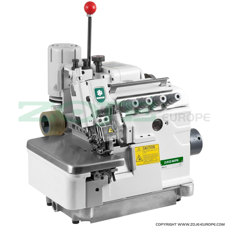 ZOJE ZJ932-86-PK SET - 5-thread overlock (safety stitch) machine for heavy materials, with puller and energy-saving AC Servo motor - complete sewing machine