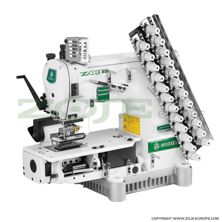 12-needle semi-cylinder double chainstitch machine with puller, with energy-saving AC Servo motor - complete sewing machine - ZOJE ZJ1414-100-403-601-12064 SET