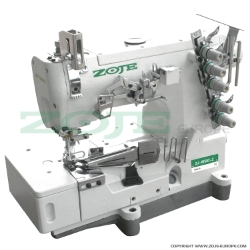 3-needle flat bed coverstitch (interlock) machine for binding, with built-in AC Servo motor and needles positioning - SET