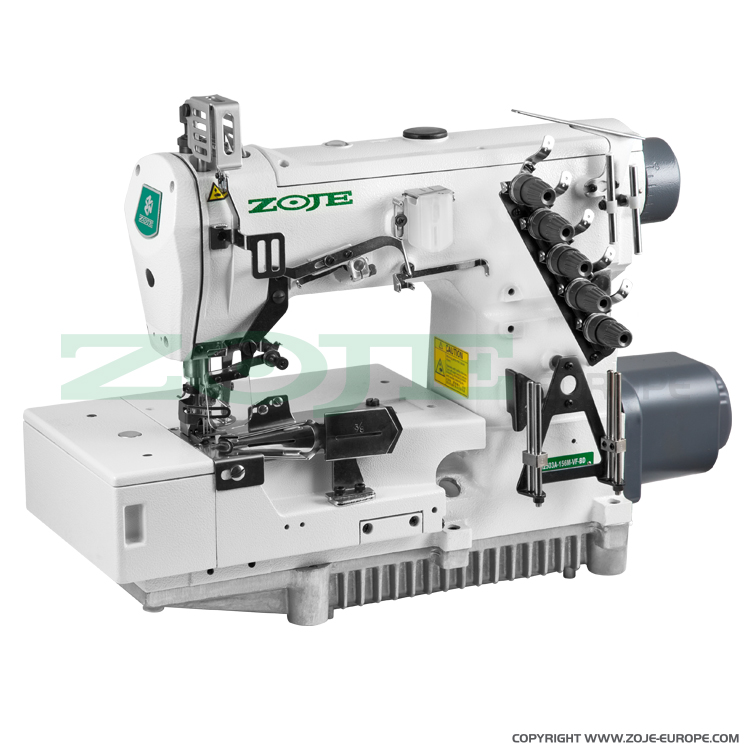 3-needle flat bed coverstitch (interlock) machine for binding, with built-in AC Servo motor and needles positioning - complete sewing machine