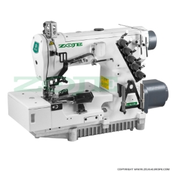 3-needle flat bed coverstitch (interlock) machine for binding, with built-in AC Servo motor and needles positioning - complete sewing machine - ZOJE ZJ2503A-164M-BD SET
