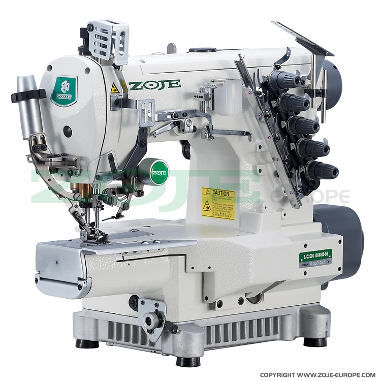 3-needle cylinder bed coverstitch (interlock) machine with electromagnetic automatic thread trimmer and built-in AC Servo motor - complete sewing machine