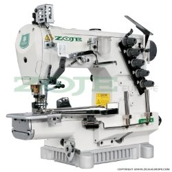 3-needle cylinder bed coverstitch (interlock) machine for binding, with built-in AC Servo motor and needles positioning - complete sewing machine - ZOJE ZJC2503-164M-BD SET