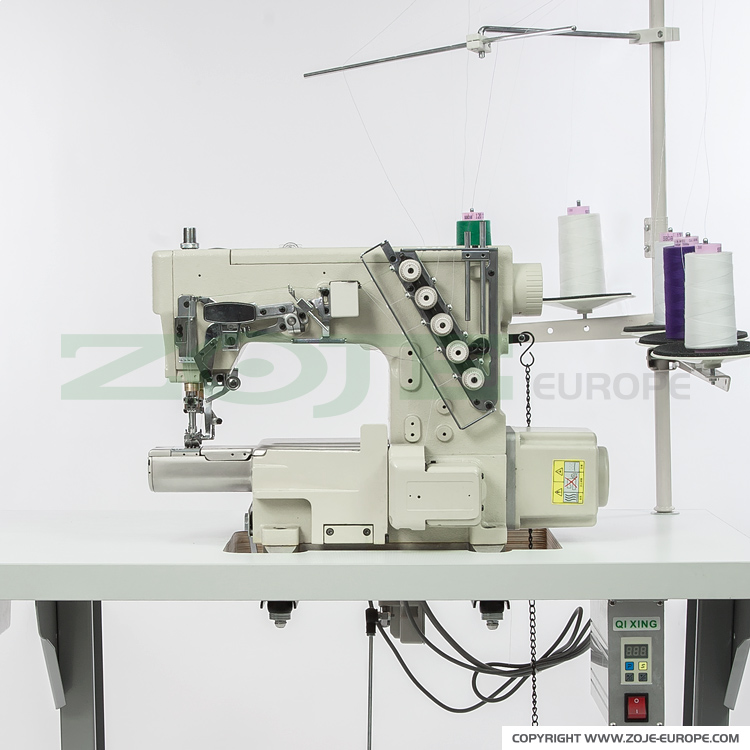 ZOJE ZJS2500A-156M-BD SET - 3-needle small cylinder bed coverstitch (interlock) machine with built-in AC Servo motor and needles positioning - complete sewing machine