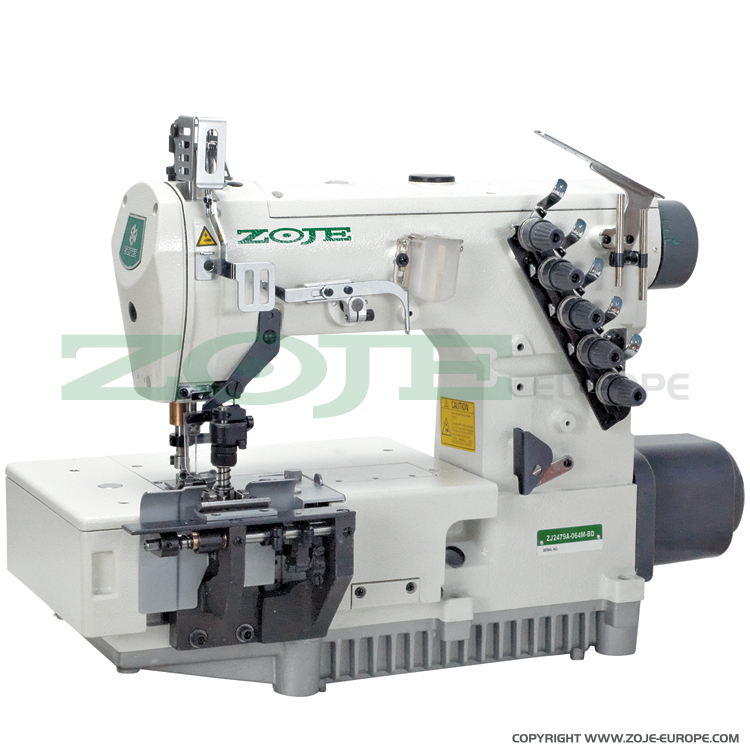 2-needle flat chainstitch machine for belt-loop seaming, with built-in energy-saving AC Servo motor and needle positioning - complete sewing machine