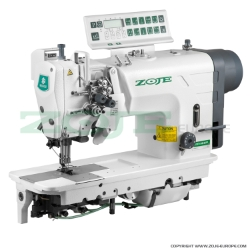 2- needle automatic lockstitch machine for light and medium materials, with built-in AC Servo motor, split needles, large hooks - machine head - ZOJE ZJ2875-BD-D3/PF