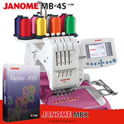 Compact, one-head, four-needle embroidery machine - set with embroidery design software JANOME DIGITIZER MBX - JANOME MB-4S SET