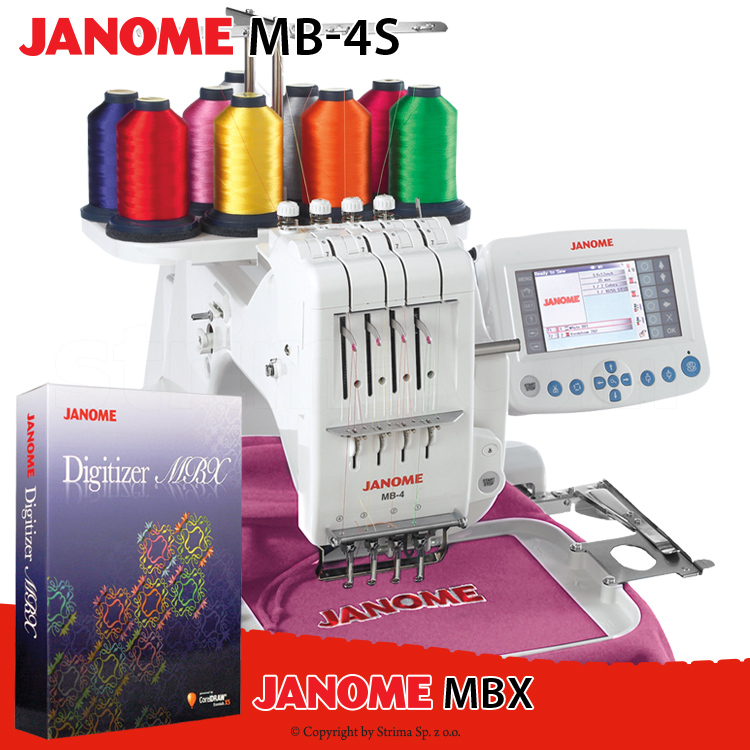 JANOME MB-4S SET - Compact, one-head, four-needle embroidery machine - set with embroidery design software JANOME DIGITIZER MBX
