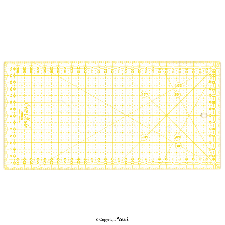 TEXI 4067 - Quilting ruler, 160x320 mm, metric scale, yellow