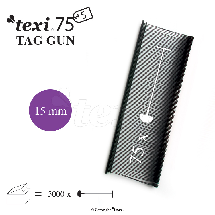 TEXI 75 PPS BLACK 015 - Tagging pins 15 mm standard, black, 1 single box = 5.000 pcs