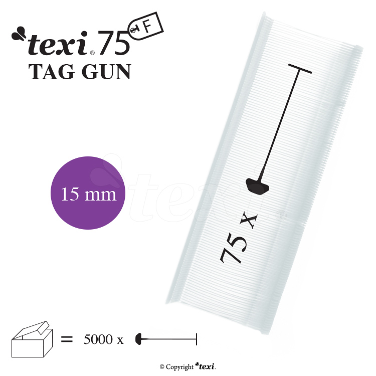 TEXI 75 PPF NEUTRAL 015 - Tagging pins 15 mm Fine, neutral, 1 single box = 5.000 pcs
