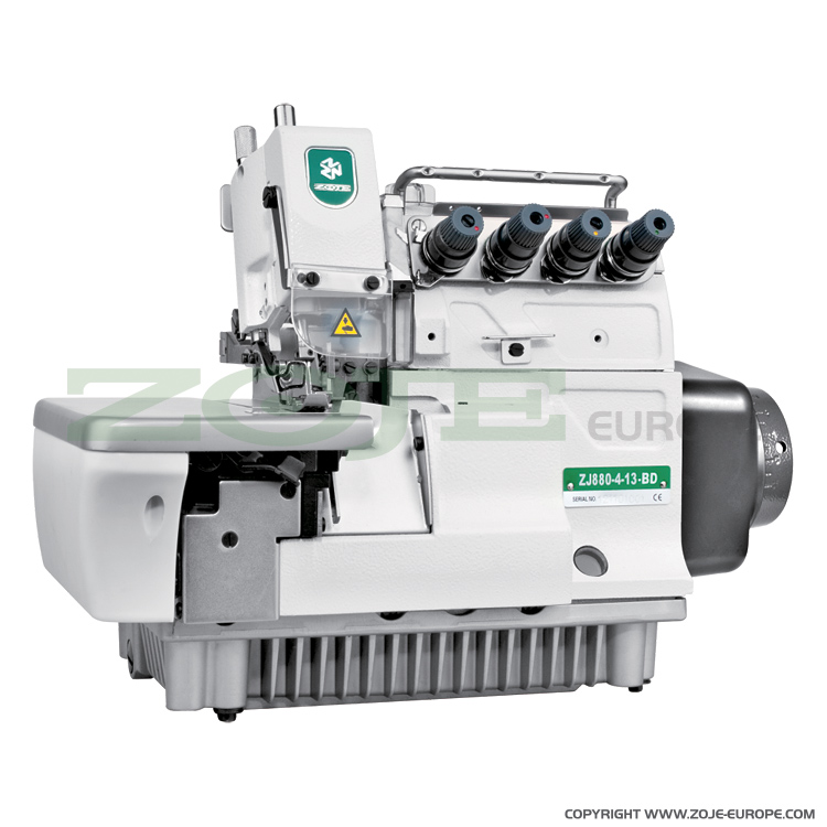 4-thread Zoje overlock machine for light and medium materials, with built-in AC Servo motor and needles positioning - machine head