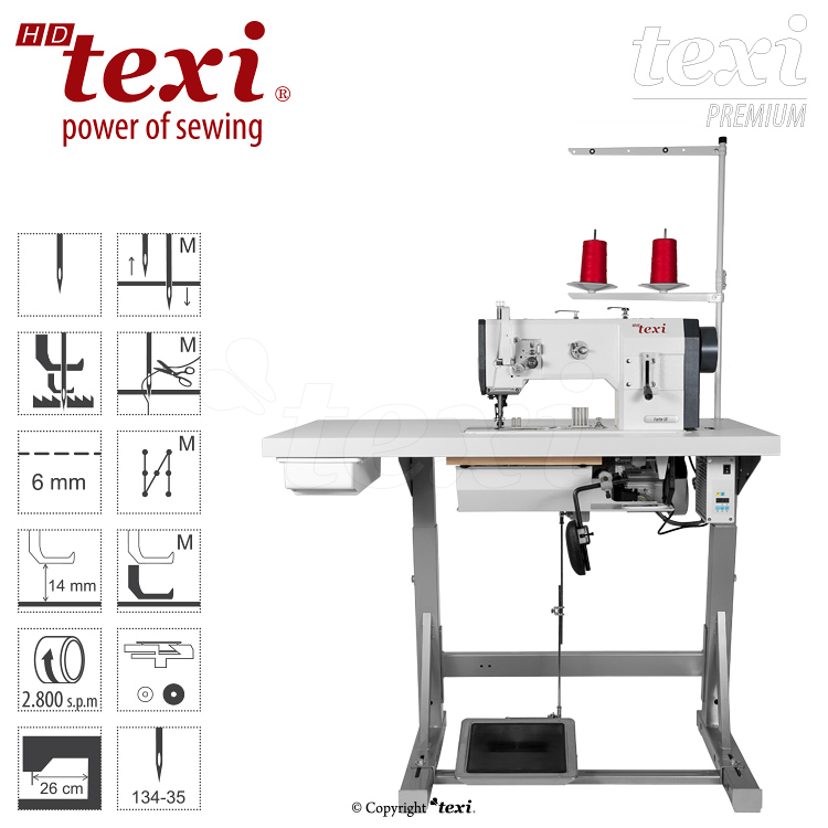 TEXI HD FORTE-B UF PREMIUM - Upholstery and leather lockstitch binding machine with unison feed, large hook, AC Servo motor