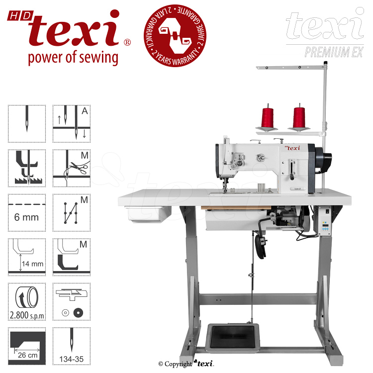 TEXI HD FORTE-B UF PREMIUM EX - Upholstery and leather lockstitch binding machine with unison feed, large hook, AC Servo motor and needle positioning - complete with 2 years warranty