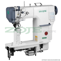 Zoje automatic post-bed lockstitch machine for thick material with bottom, needle and upper roller feed, with AC Servo motor - complete machine