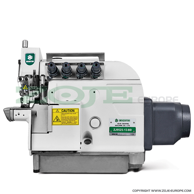 ZOJE ZJ952S-13-BD - 4-thread cylinder bed overlock (safety stitch) machine, for light and medium materials, with built-in AC Servo motor - machine head